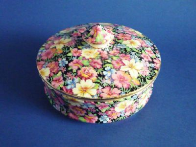 Rare Royal Winton 'Florence' Chintz Circular Trinket Box and Cover c1953